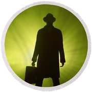 Man With Case In Green Light Round Beach Towel