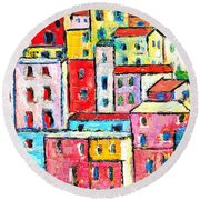 Manarola Colorful Houses Painting Detail Round Beach Towel