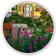 Manarola Flowers And Houses Round Beach Towel