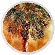 Manasota Key Palm 1 Round Beach Towel