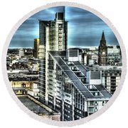 Manchester Buildings Hdr Round Beach Towel