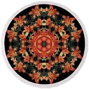 Mandala Daylily Round Beach Towel