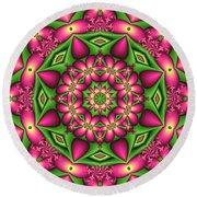Mandala Green And Pink Round Beach Towel