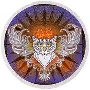 Mandala Owl Round Beach Towel