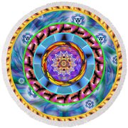 Mandala Wormhole 101 Round Beach Towel by Derek Gedney
