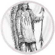 Mandan Indian Chief Round Beach Towel