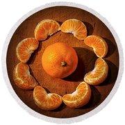 Mandarin - Vignette Round Beach Towel by Kaye Menner