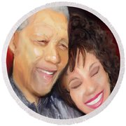 Mandela And Whitney Round Beach Towel