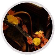 Mandolin Autumn 5 Round Beach Towel