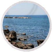 Mandraki Coastline Nisyros Round Beach Towel