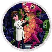 Manga Professor With Nice Pink Monster Experiment Round Beach Towel