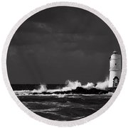 Mangiabarche's Lighthouse Round Beach Towel
