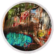 Mangled Whistler Train Wreck Box Car Round Beach Towel