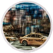 Manhattan - Yellow Cabs - Future Round Beach Towel
