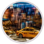 Manhattan - Yellow Cabs I Round Beach Towel by Hannes Cmarits