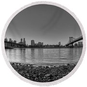Manhattan And Brooklyn Bridge Fisheye Bw Round Beach Towel