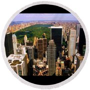 Manhattan And Central Park Round Beach Towel