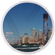 Manhattan Battery Park Skyline Round Beach Towel