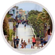 Manhattan Beach Boardwalk Round Beach Towel