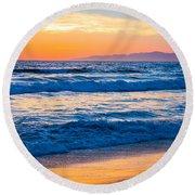 Manhattan Beach Sunset Round Beach Towel