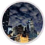 Manhattan Bound Version A Round Beach Towel