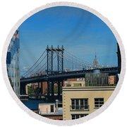 Manhattan Bridge From Brooklyn Round Beach Towel