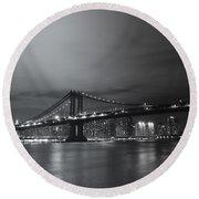 Manhattan Bridge - New York City Round Beach Towel