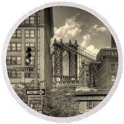 Manhattan Bridge Peeking Through Round Beach Towel