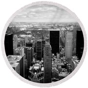 Manhattan Round Beach Towel by Dave Bowman