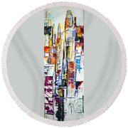 Manhattan Morning Round Beach Towel