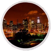 Manhattan Night Skyline Round Beach Towel