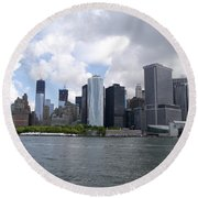 Manhattan Skyline From The Hudson River Round Beach Towel