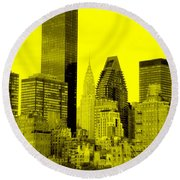 Manhattan Skyline In Yellow Round Beach Towel
