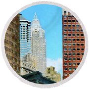 Manhattan Skyscrapers Round Beach Towel