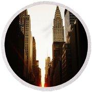 Manhattanhenge Sunset And The Chrysler Building  Round Beach Towel