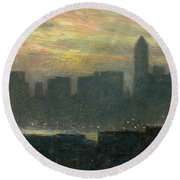 Manhattans Misty Sunset Round Beach Towel