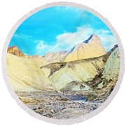 Manly Beacon From Golden Canyon In Death Valley National Park-california Round Beach Towel