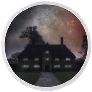 Manor At Night Round Beach Towel
