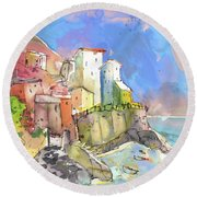 Manorola In Italy 05 Round Beach Towel