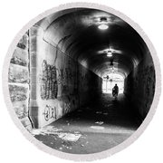 Man's Silhouette In Urban Tunnel Black And White Round Beach Towel
