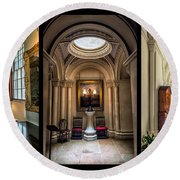 Mansion Hallway Triptych Round Beach Towel