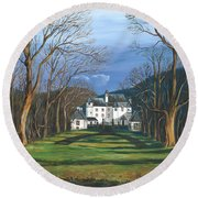 Mansion In The Woods Round Beach Towel