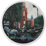 Mansion On Forsythe Savannah Georgia Round Beach Towel