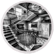 Mansion Stairway V2 Round Beach Towel