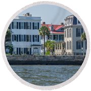Mansions By The Water Round Beach Towel
