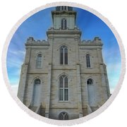 Manti Temple East Side Round Beach Towel