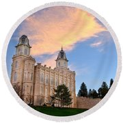 Manti Temple Morning Round Beach Towel
