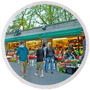 Many Flower Shops In Tallinn-estonia Round Beach Towel