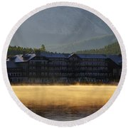 Many Glacier Hotel Sunrise Panorama Round Beach Towel
