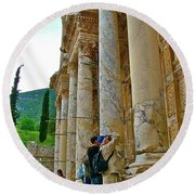 Many Photographers At Library Of Celsus-ephesus Round Beach Towel